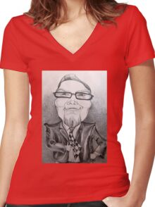 Man in suit caricature. Women's Fitted V-Neck T-Shirt
