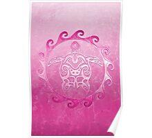Maori pink Turtle Poster