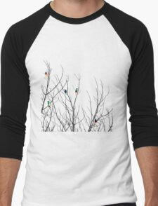 Artistic Bright Birds on Tree Branches Men's Baseball ¾ T-Shirt