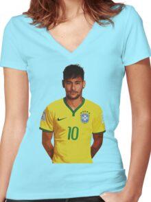 Neymar - Brazil 2014 Women's Fitted V-Neck T-Shirt
