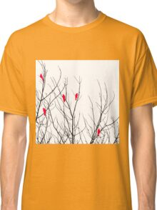 Artistic Bright Red Birds on Tree Branches Classic T-Shirt
