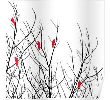 Artistic Bright Red Birds on Tree Branches Poster