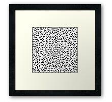 Modern Black and White Hand Drawn Polka Dots Framed Print