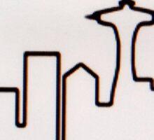 frasier tv show seattle city skyline Sticker