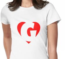 I love G - Heart G - Heart with letter G Womens Fitted T-Shirt
