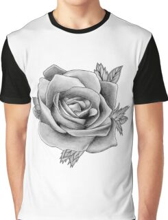 Black and White Watercolour Rose Graphic T-Shirt