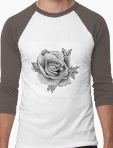 Black and White Watercolour Rose Men's Baseball ¾ T-Shirt