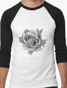 Black and White Watercolour Rose Men's Baseball ¾ T-Shirt