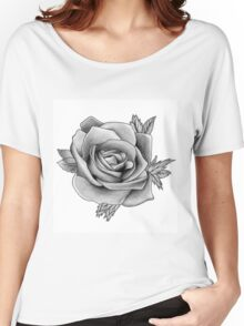 Black and White Watercolour Rose Women's Relaxed Fit T-Shirt