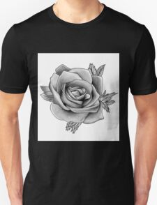 Black and White Watercolour Rose Unisex T-Shirt