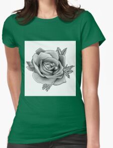 Black and White Watercolour Rose Womens Fitted T-Shirt