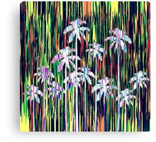 Bright Neon Multi-Colored Palm Trees and Stripes Canvas Print