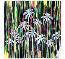Bright Neon Multi-Colored Palm Trees and Stripes Poster