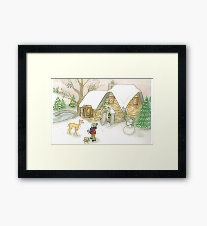 DEER COTTAGE Framed Print