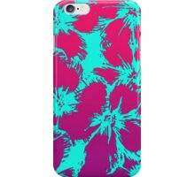 Tropical Neon Pink and Aqua Flower Pattern iPhone Case/Skin