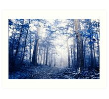 follow the path of mine (blue forest) Art Print