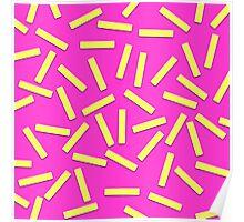 Fun Yellow Confetti on Neon Pink Poster