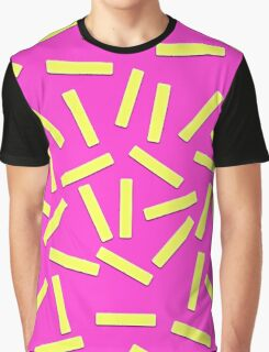 Fun Yellow Confetti on Neon Pink Graphic T-Shirt