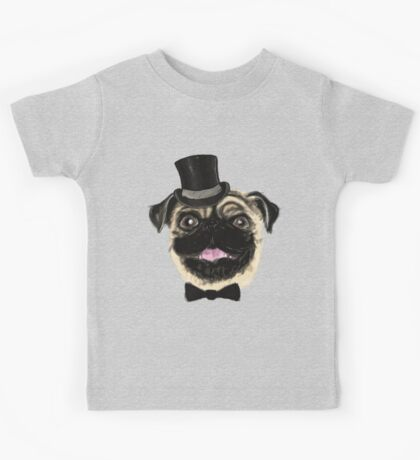 Pug in a top hat Kids Tee