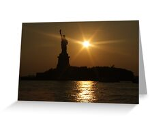 Sunset and Lady Liberty Greeting Card