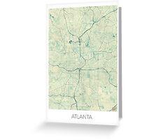 Atlanta Map Blue Vintage Greeting Card