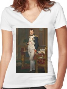 Jacques-Louis David - The Emperor Napoleon 1812 . Napoleon, Fashion Portrait Women's Fitted V-Neck T-Shirt