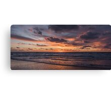 Dutch Seascapes, Evening Red on a winter eve Canvas Print
