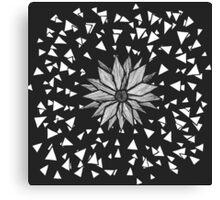 Modern Black Jagged Geometric Flower and Triangles Canvas Print