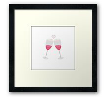 champagne glasses with heart Framed Print