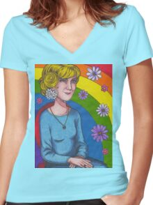 Dusty Women's Fitted V-Neck T-Shirt