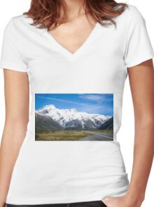 A vista to Mount Cook National Park  Women's Fitted V-Neck T-Shirt