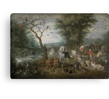 Jan Brueghel the Elder - Paradise Landscape with the Animals Entering Noah s Ark 1613–1615 Canvas Print