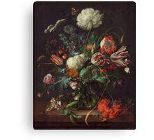 Jan Davidsz de Heem - Vase of Flowers , Flowers , Bouquet of Flowers , Love , Kiss  Canvas Print