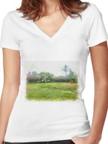 grass Women's Fitted V-Neck T-Shirt
