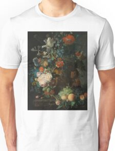 Jan van Huysum - Still Life with Flowers and Fruit  , Fashion , Love , Kiss  Unisex T-Shirt