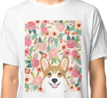 Welsh Corgi florals spring flowers summer garden nature bloom corgi pet portrait gift for corgi owner must haves Classic T-Shirt