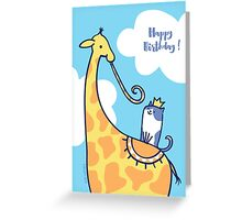 Giraffe and Kitty Cat Birthday Greeting Card