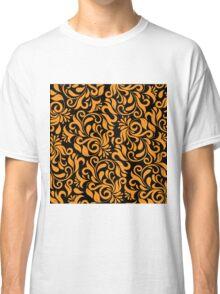 Orange And Black Damask Classic T-Shirt