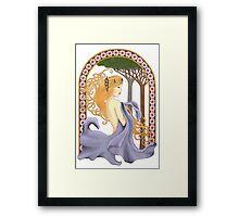 Art Nouveau Woman in Lavender Cutout Added Detail Framed Print