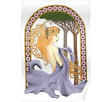 Art Nouveau Woman in Lavender Cutout Added Detail Poster