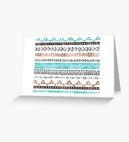 Brown Teal Blue Black hand drawn watercolor geometric tribal pattern Greeting Card