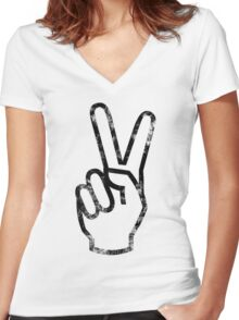 PEACE HANDS Women's Fitted V-Neck T-Shirt