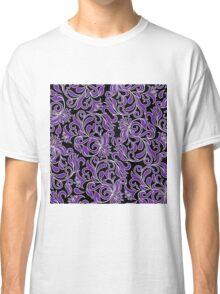 Purple And White Damask Classic T-Shirt