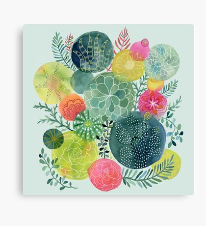 Succulent Circles Canvas Print