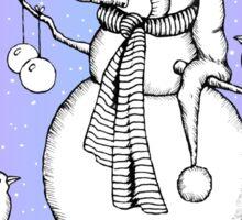 Snowman with Birds, Snowfall, Original Drawing Sticker