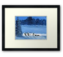Trees and a fence on a snowy winter night - Acrylic painting Framed Print