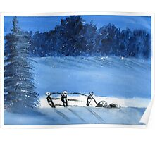 Trees and a fence on a snowy winter night - Acrylic painting Poster