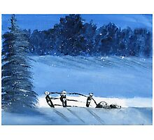 Trees and a fence on a snowy winter night - Acrylic painting Photographic Print