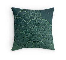 Geology Theme Ammonite in Blue-green and Grey Throw Pillow