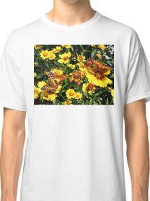 Orange Butterflies on Yellow Coreopsis Classic T-Shirt